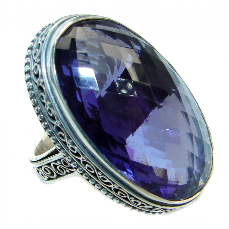 Energazing created Alexandrite Quartz Sterling Silver Ring size 9