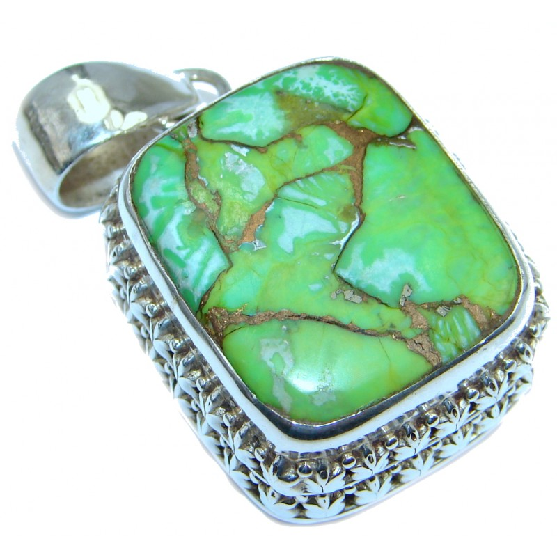 Huge Green Copper vains Turquoise Peridot Sterling Silver handmade Pendant