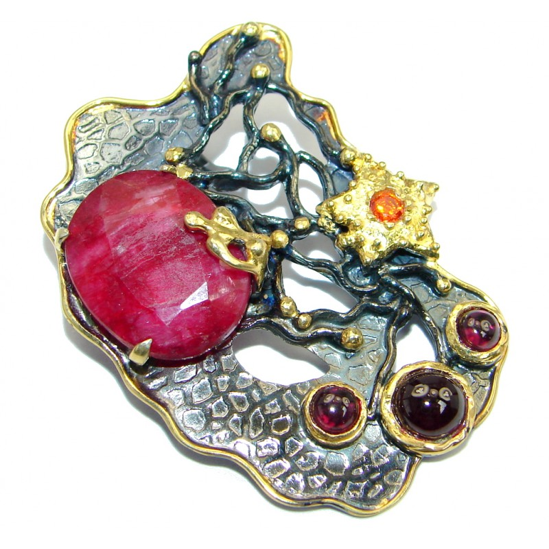 Huge Ruby Garnet Gold plated over Sterling Silver handmade Pendant