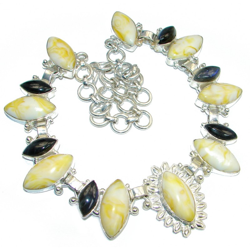 Big Stylish Yellow Quartz Labradorite Sterling Silver handmade necklace