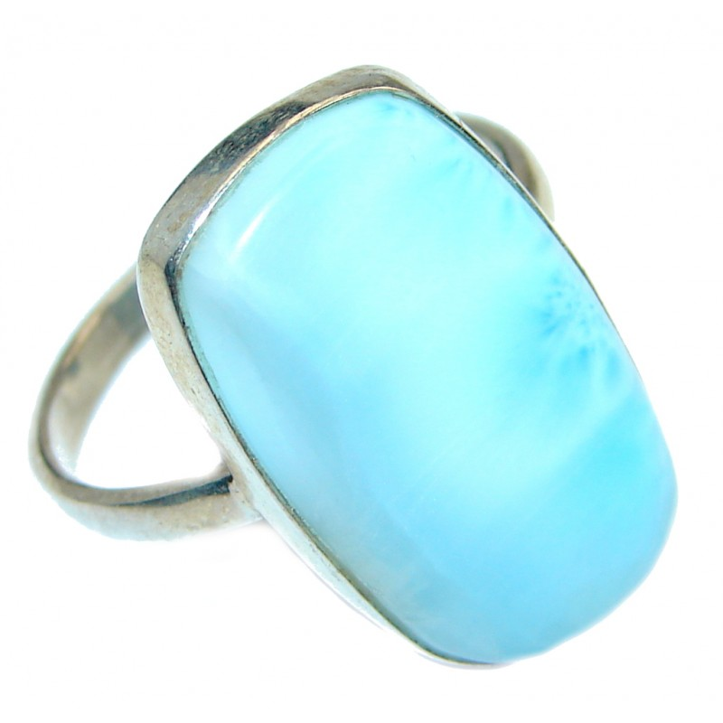 Genuine Larimar Oxidized Sterling Silver handmade Ring size 8 1/4