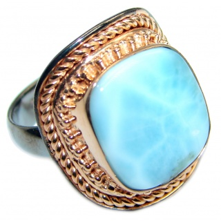 Vintage Look Genuine Larimar Two Tones Sterling Silver handmade Ring size 7 1/2 adjustable