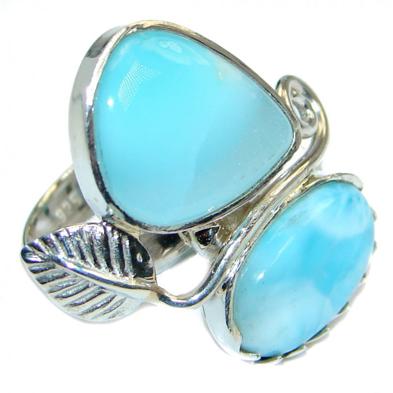 Genuine Larimar Sterling Silver handmade Ring size 8 1/4