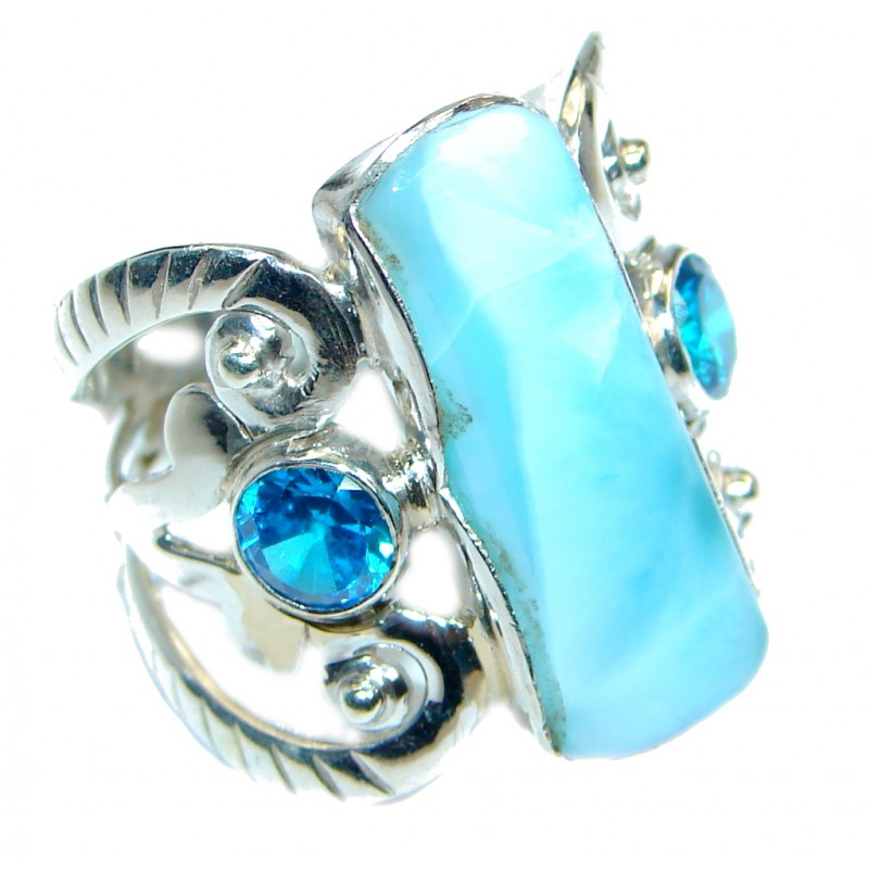 Genuine Larimar Sterling Silver handmade Ring size 8