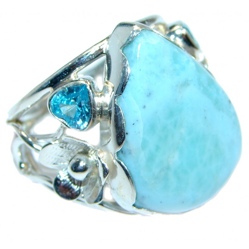 Genuine Larimar Sterling Silver handmade Ring size 7 1/4