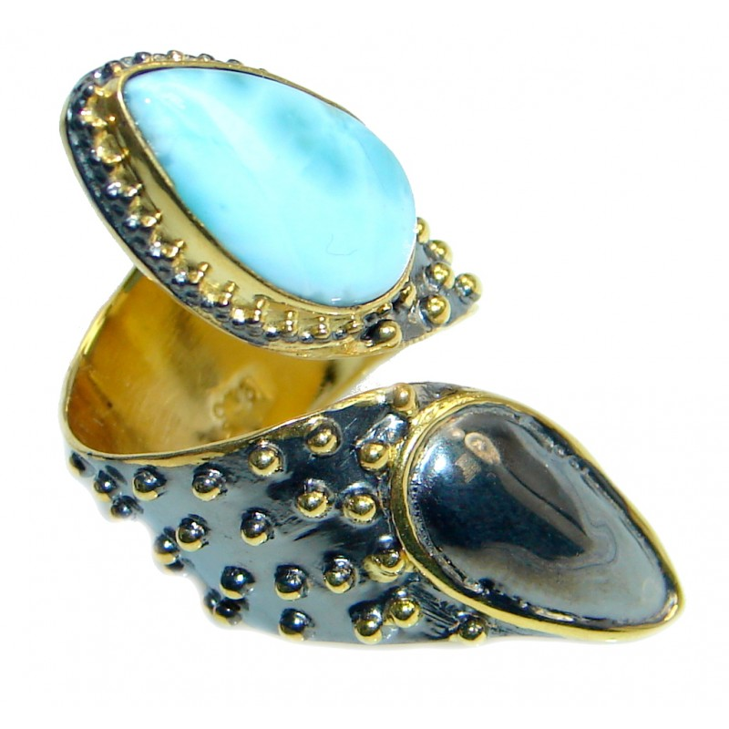 Vintage Look Genuine Larimar Gold plated over Sterling Silver handmade Ring size 7 adjustable