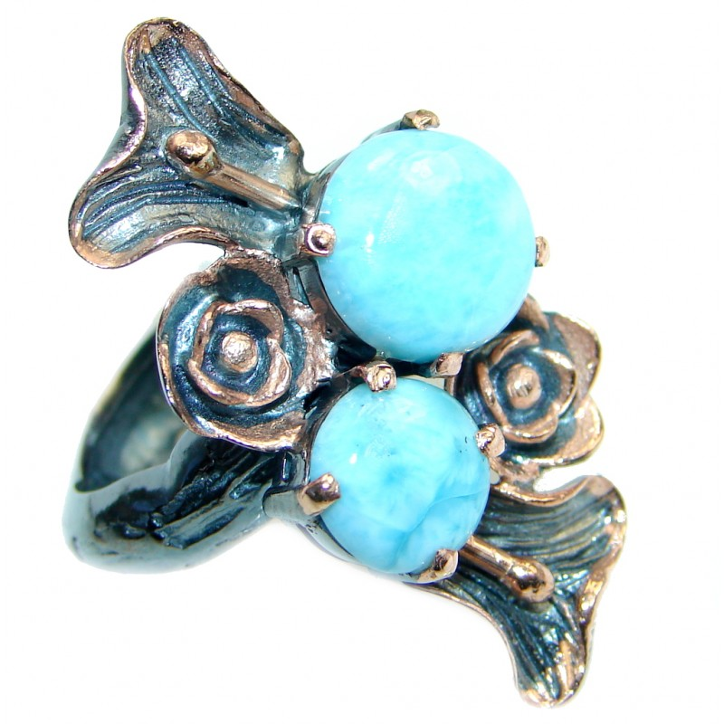 Vintage Look Genuine Larimar Rose Gold plated over Sterling Silver handmade Ring size 8