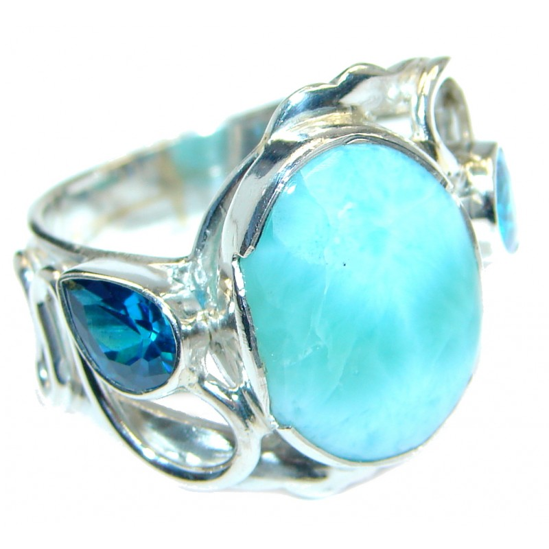 Genuine Larimar Sterling Silver handmade Ring size 9