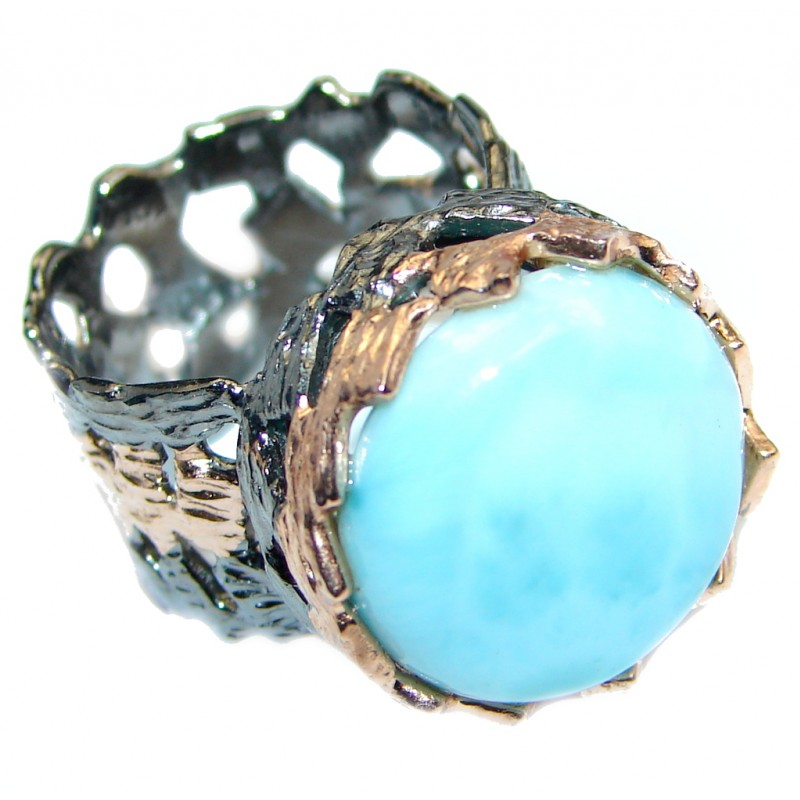 Vintage Look Genuine Larimar Rose Gold plated over Sterling Silver handmade Ring size 8 adjustable