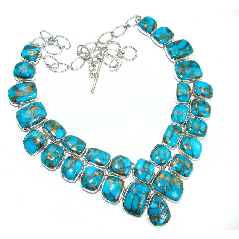 Unusal Style genuine Copper Turquoise Sterling Silver handmade necklace