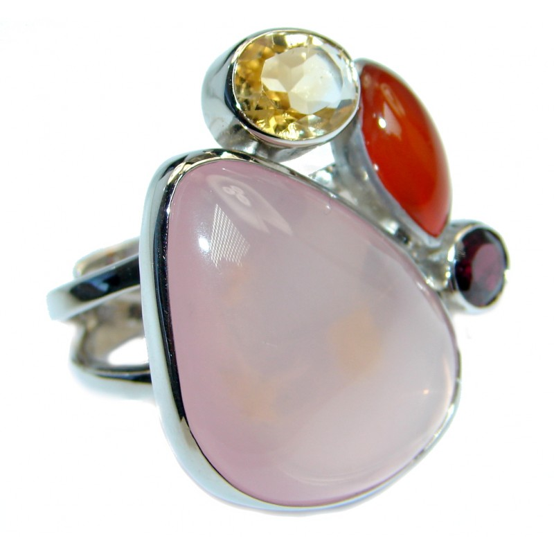 Jumbo Real Beauty Rose Quartz Sterling Silver handmade Ring size 6 1/2