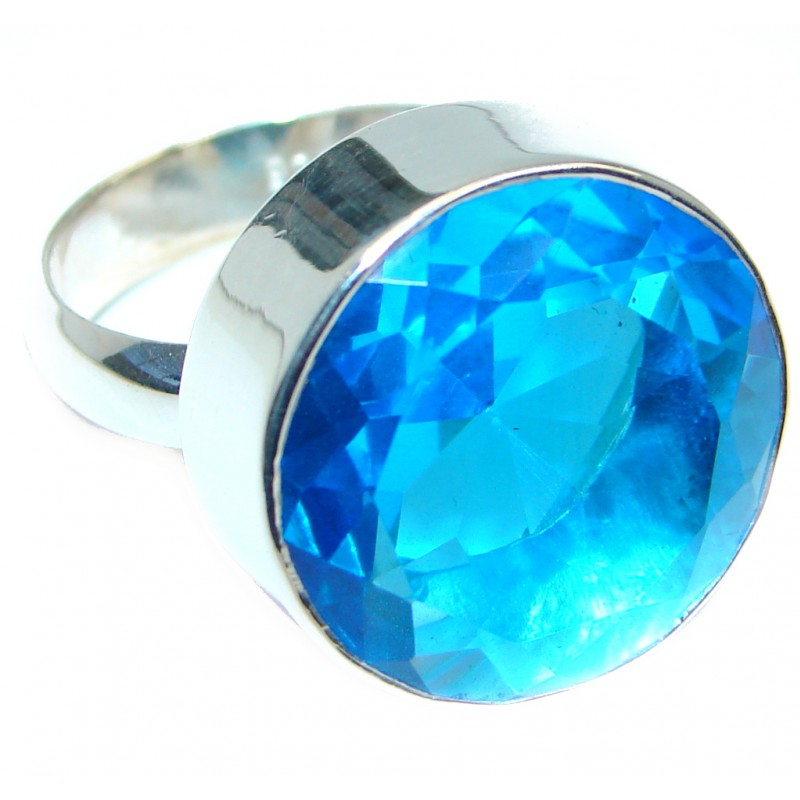 Energazing Blue Quartz Sterling Silver handmade Ring size 7 adjustable