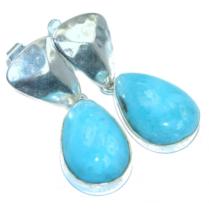 Precious Blue Larimar Sterling Silver handmade stud nearrings