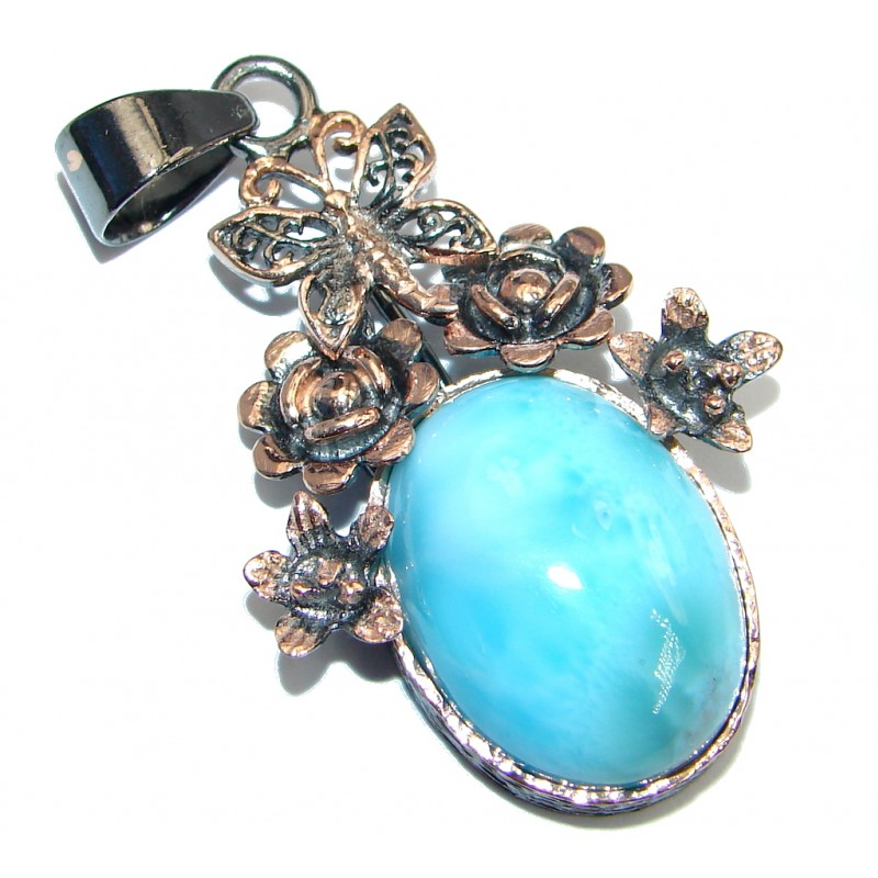 Sublime Larimar Rose Gold plated over Sterling Silver handmade Pendant