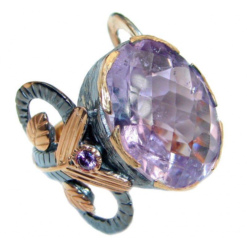Bold Design Genuine Amethyst Rose Gold plated over Sterling Silver handmade ring size 8