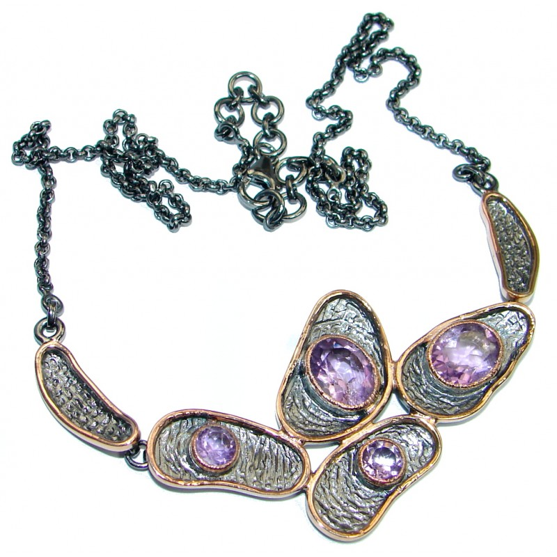 Fine Art Genuine Amethyst Garnet Rose Gold plated over Sterling Silver handmade necklace