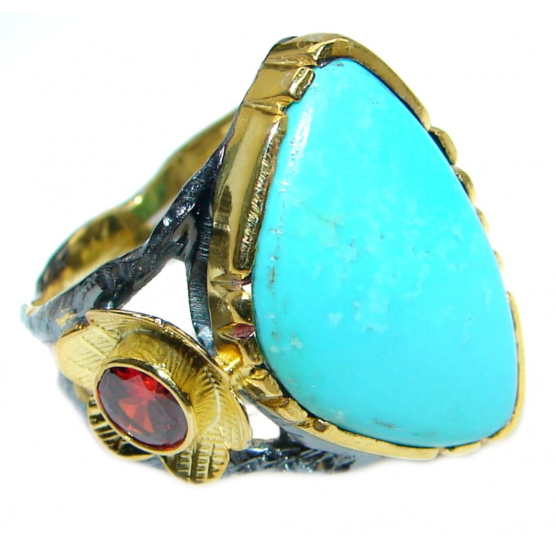 Excellent quality Sleeping Beauty Turquoise Sterling Silver handmade ring size 8