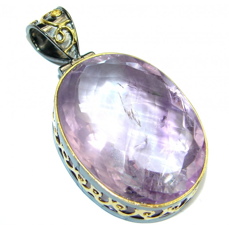 One of the kind genuine Amethyst Gold plated over Sterling Silver handmade Pendant