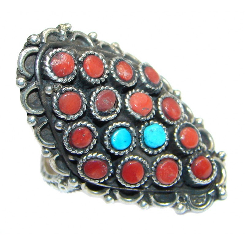 Great Coral Turquoise Sterling Silver handcrafted Ring s. 8