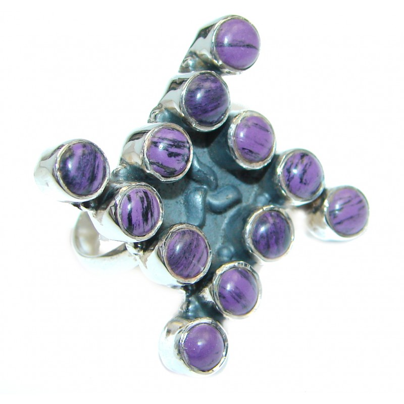 Large Beautiful created Sugilite Sterling Silver Ring s. 9 1/4