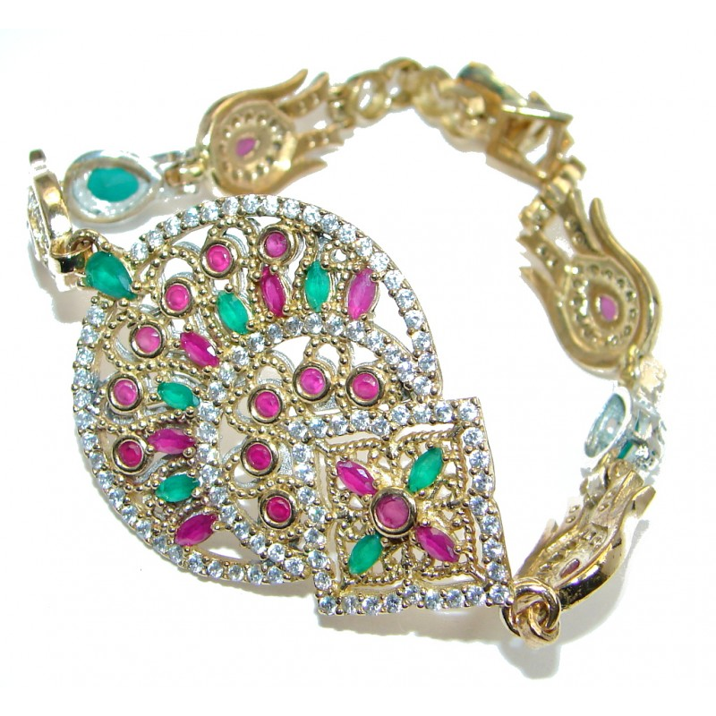 Flawless created Ruby Emerald Gold Rhodium plated over Sterling Silver Bracelet
