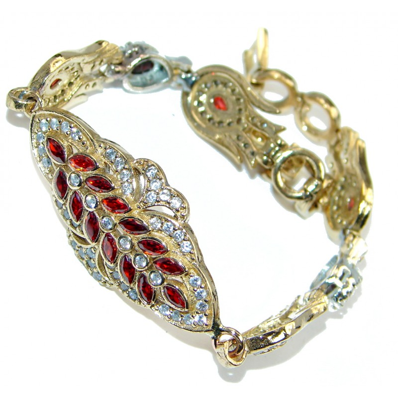 Flawless Passion Red created Ruby Gold Rhodium plated over Sterling Silver Bracelet