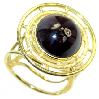 Genuine Rhodolite Garnet Gold plated over Sterling Silver made ring size 7 adjustable