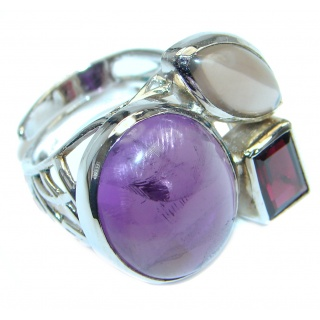 Purple Aura Amethyst Sterling Silver ring size 7 adjustable