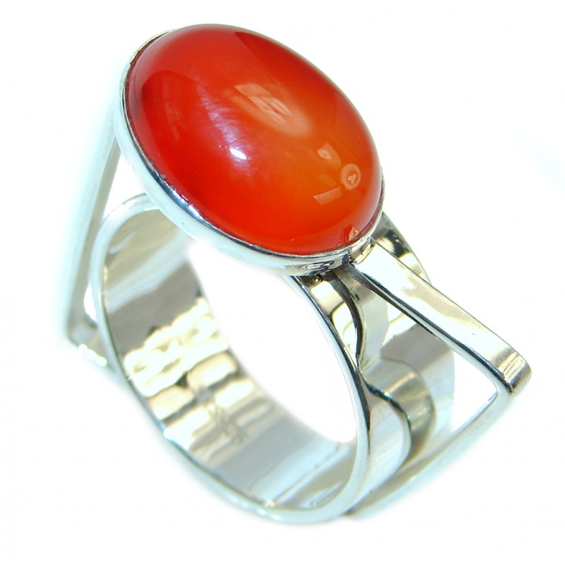 Amazing Genuine Carnelian Sterling Silver Ring 10