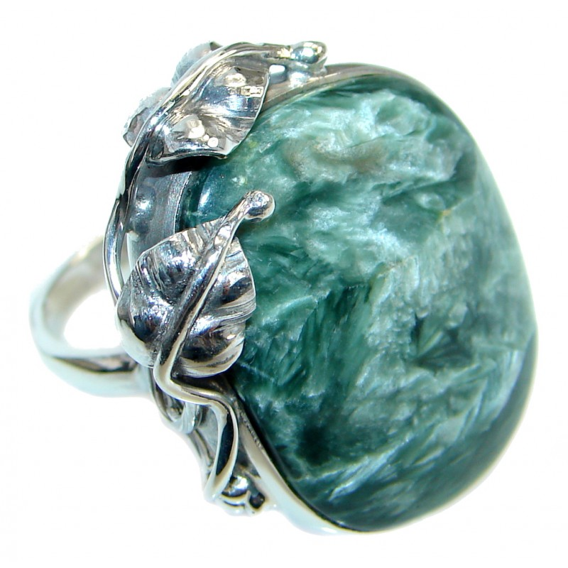 Huge AAA quality Green Seraphinite Sterling Silver Ring size 7 1/4 adjustable