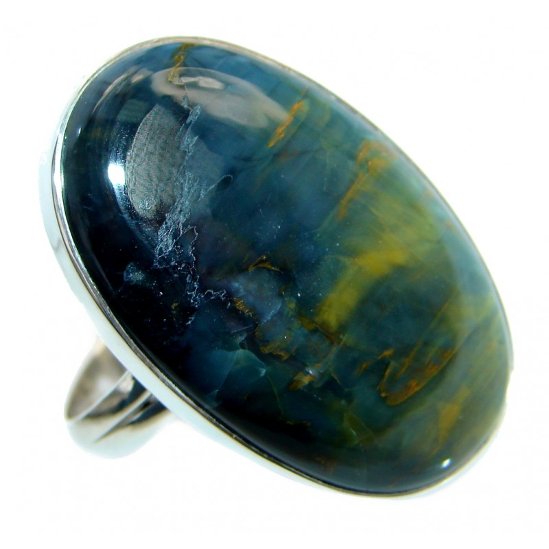 Simply Beautiful Silky Pietersite Sterling Silver Ring size 8 adjustable