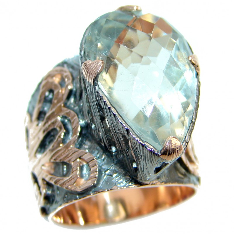 Supernova Green Amethyst Gold plated over Sterling Silver ring; s. 7