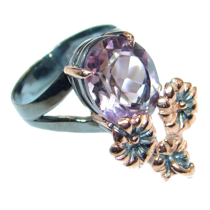 Supernova Amethyst Gold plated over Sterling Silver ring; s. 7