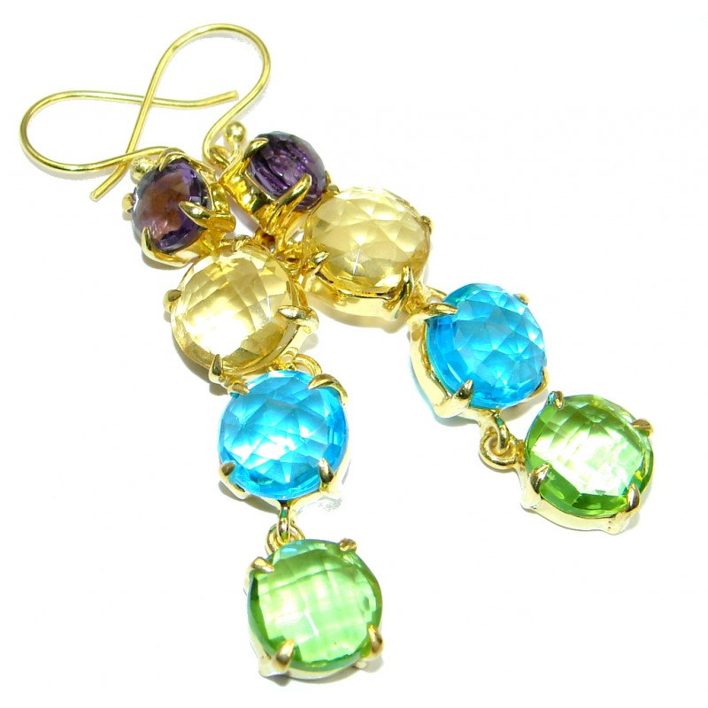 Luxury Multicolor simulated Gemstones Gold lated over Sterling Silver handcrafted earrings