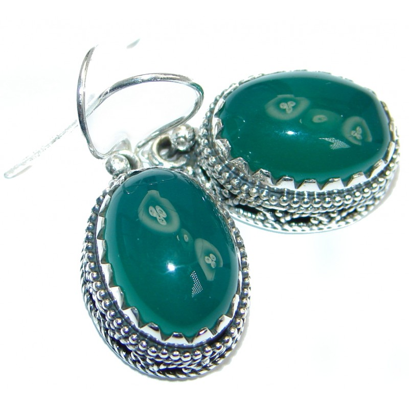 Rich Design Agate Sterling Silver handmade earrings