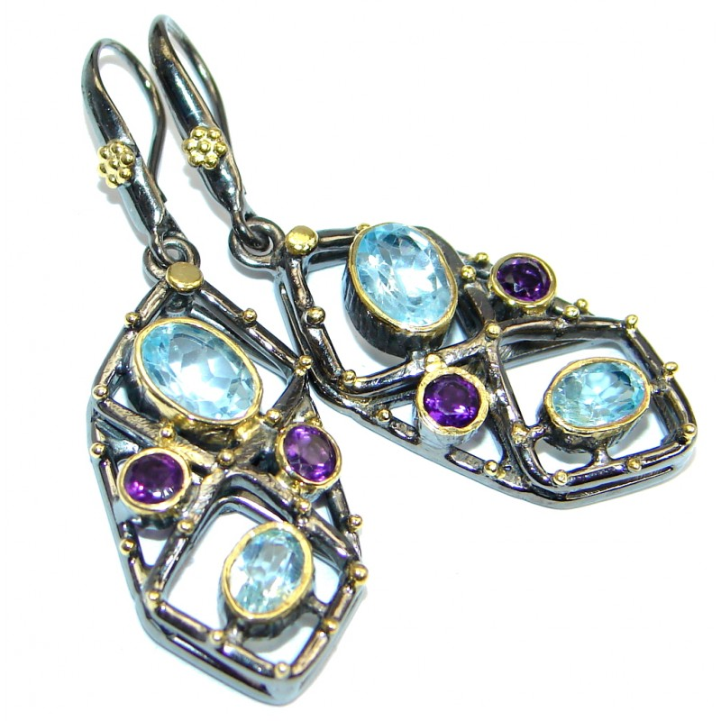 Genuine Swiss Blue Topaz Gold plated over Sterling Silver Handmade earrings