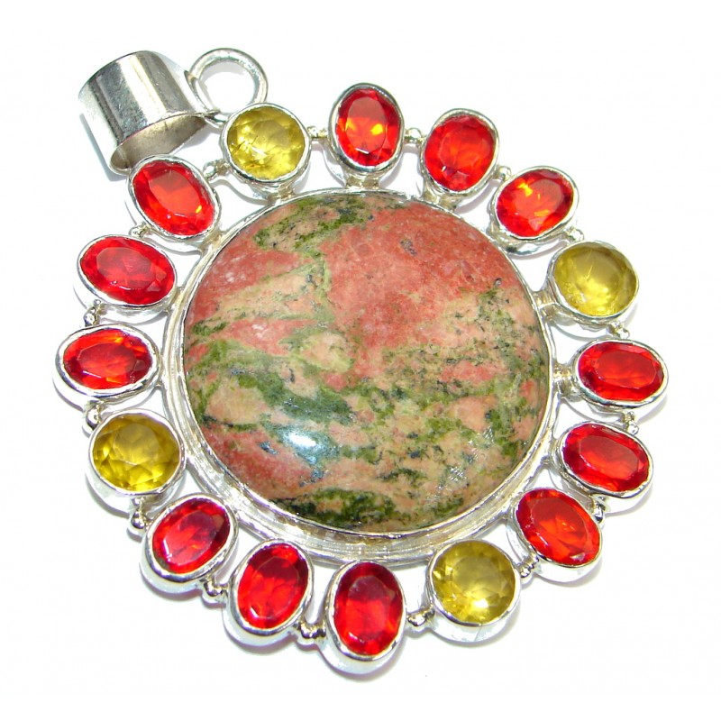 Stylish great quality Russian Unakite Sterling Silver handmade Pendant