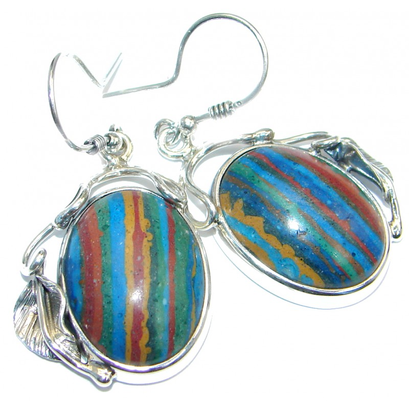 Vintage Design Rainbow Calsilica Sterling Silver handmade earrings