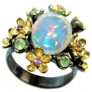 Natural 15.6ct Ethiopian Opal Peridot Pink Topaz 18ct Gold Rhodium plated over Sterling Silver ring size 8