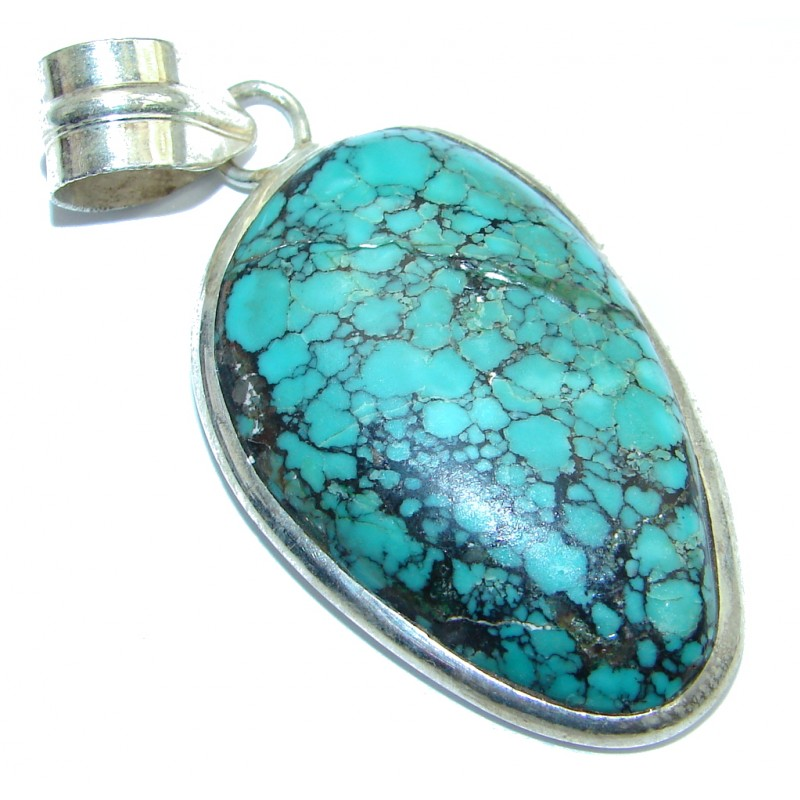 Natural Turquoise Silver Tone handmade Pendant