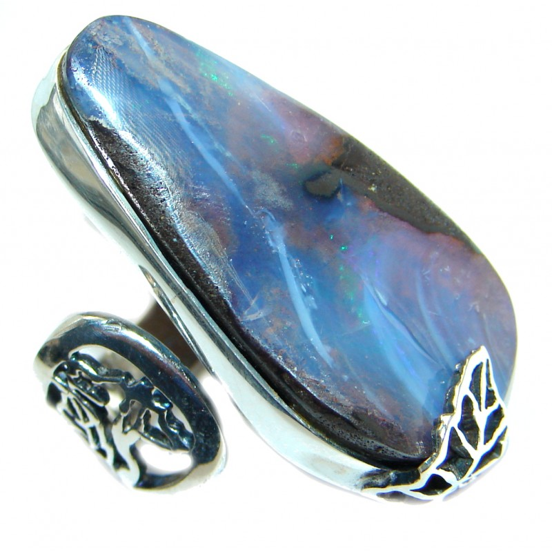 Classic Boulder Opal Sterling Silver handcrafted ring size 7 1/2 adjustable