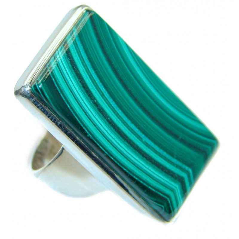 Natural great quality Malachite Sterling Silver handcrafted ring size 7 1/2