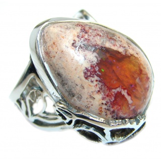 Mexican Fire Opal Oxidized Sterling Silver handmade Ring size 7 1/2 adjustable