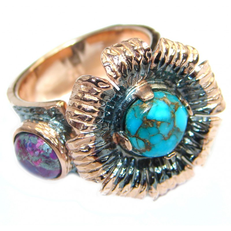 Exotic Purple Turquoise Sterling Silver handmade Ring size 7 adjustable