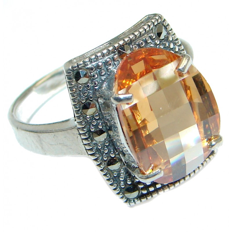 Golden Magic Cubic Zirconia Sterling Silver handmade ring size 8 1/4