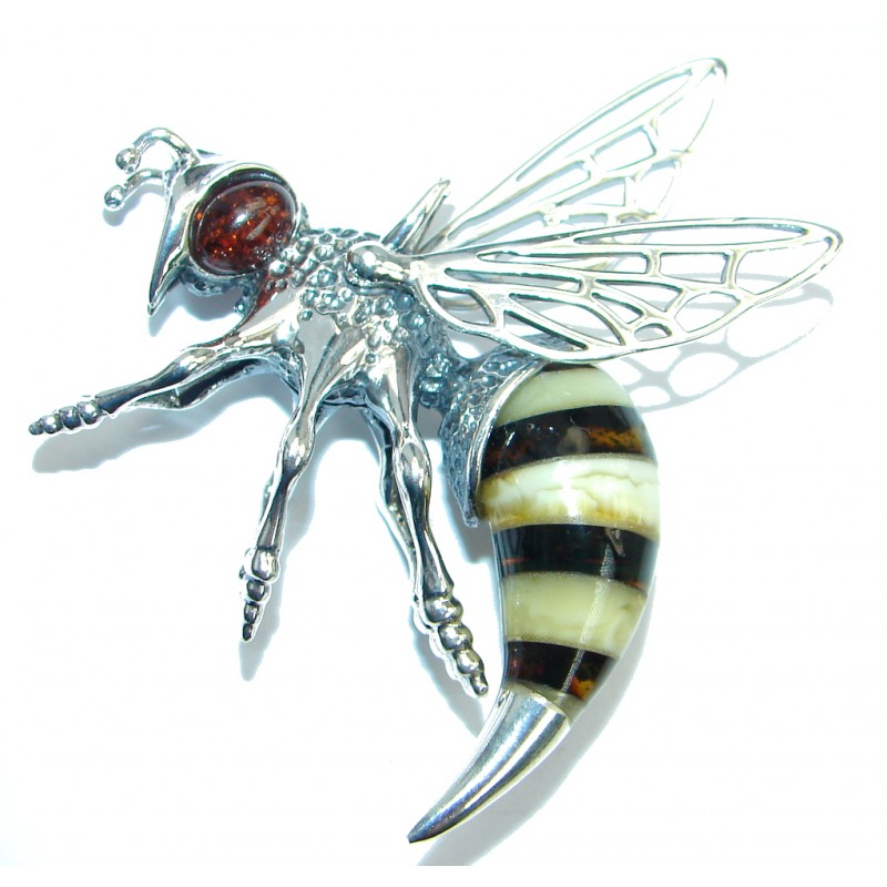 Large Masterpiece Honey Bee Baltic Polish Amber Sterling Silver Handmade Pendant