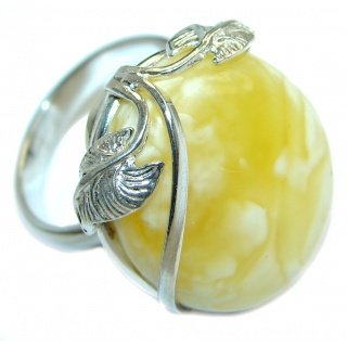 Genuine Butterscoth Baltic Polish Amber Sterling Silver handmade Ring size 6 1/4 adjustable