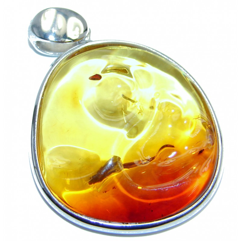 Natural Baltic Amber Sterling Silver handcrafted Pendant