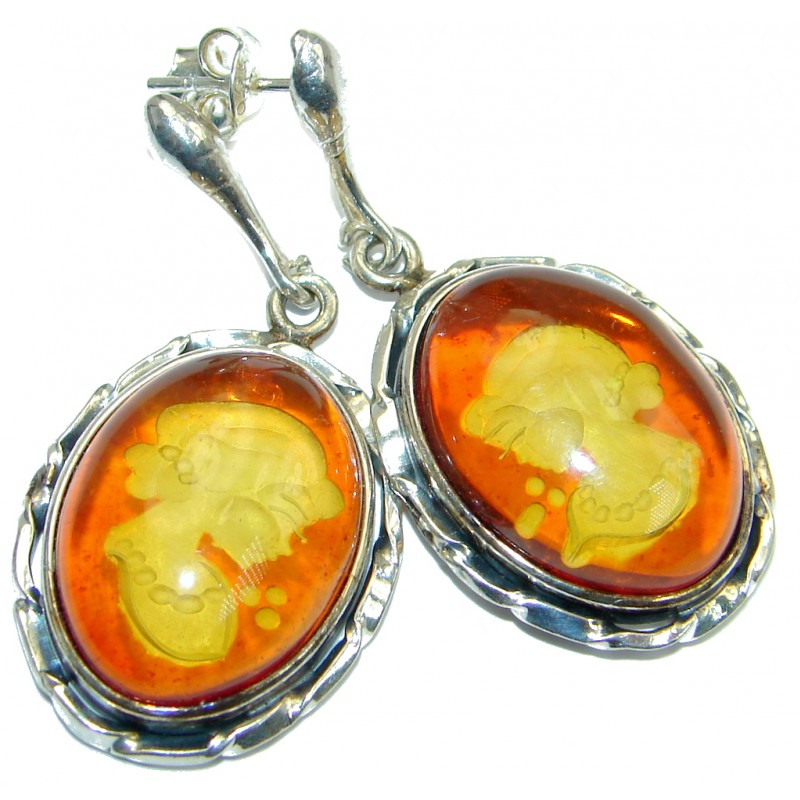45b1de6f34b84 SilverRushStyle.com - Back in time Genuine carved Baltic Polish Amber  Sterling Silver handmade Cameo Earrings