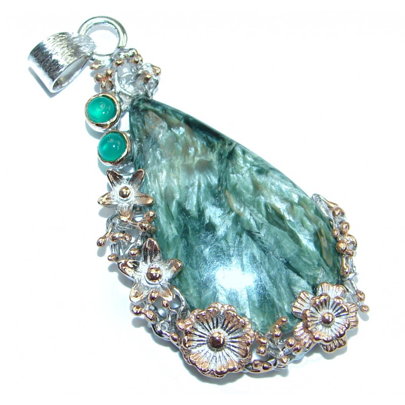 Precious Seraphinite Green Amethyst Rose Gold plated over Sterling Silver handmade Pendant